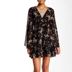 Free People Lilou Bell Sleeve Floral Mini Dress
